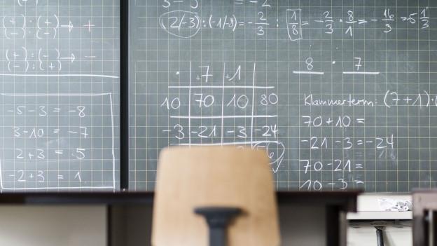 Eine Wandtafeln mit mathematischen Formeln. Davor ein Stuhl.