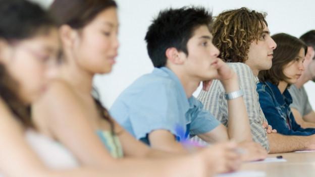 Schüler eines Gymnasiums beim Unterricht