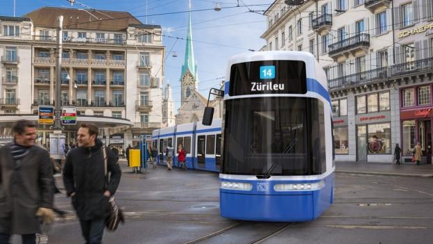 Visualisierung des neuen Zürcher Trams.
