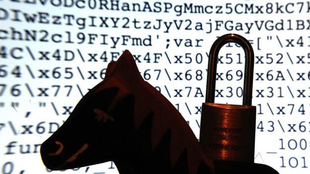 Buchstaben- und Zahlenfolgen, davor ein hölzernes Spielzeugpferd mit Vorhängeschloss