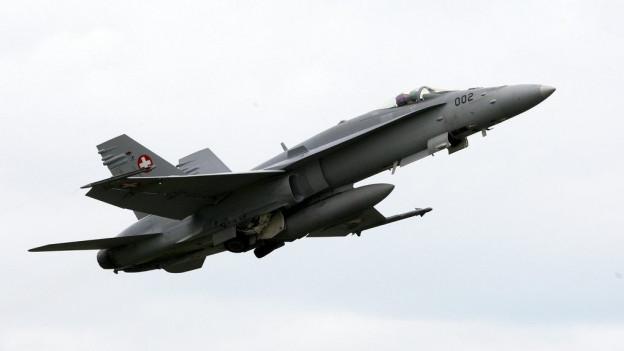 Ein F/A-18 Jet der Schweizer Flugwaffe