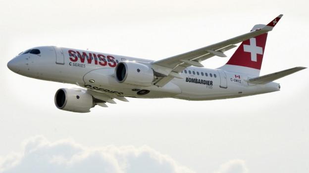 Der neue Bombardier CS 100 der Swiss.