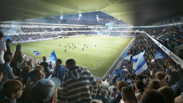 Innenansicht des neuen Hardturmstadions mit Blick von den Zuschauerrängen auf den Rasen.
