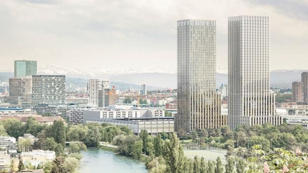 Das geplante Hardturm-Stadion mit den zwei grossen Hochhäusern im Vordergrund.