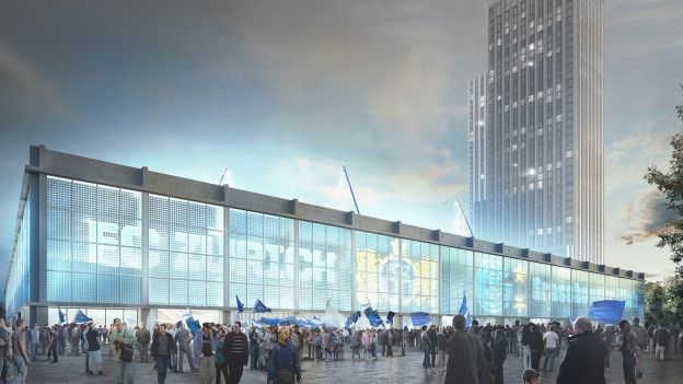 Sie überragen das Stadion deutlich: die geplanten Hochhäuser.