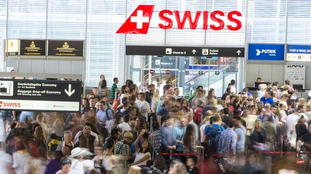 Grossandrang am Flughafen Zürich