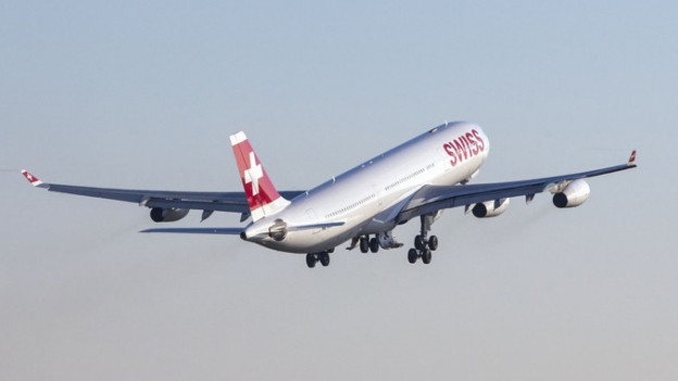 Startendes Flugzeug der Swiss
