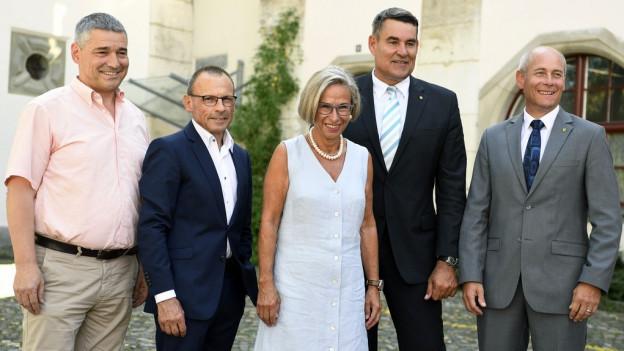 Die neue Schaffhauser Regierung: vier Männer und eine Frau.