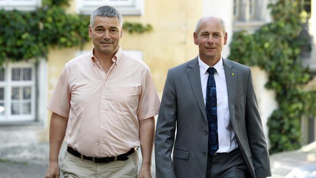 Die Sieger der Schaffhauser Wahlen: Martin Kessler (FDP) und Walter Vogelsanger (SP).