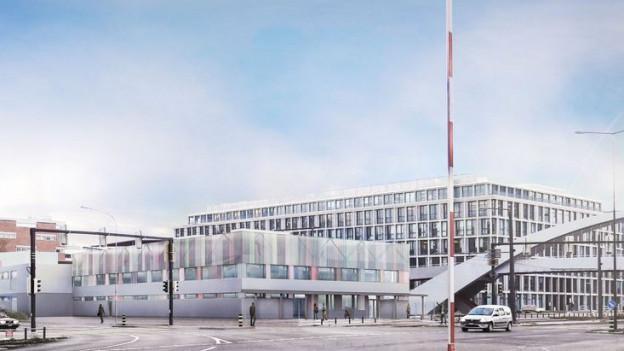 Visualisierung des Bundes-Asylzentrums: ein rechteckiges, mehrstöckiges Gebäude mit Flachdach.