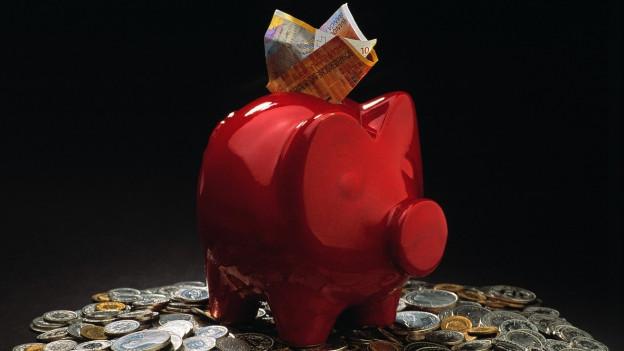 Ein Sparschwein steht auf einem Stappel Münzen.