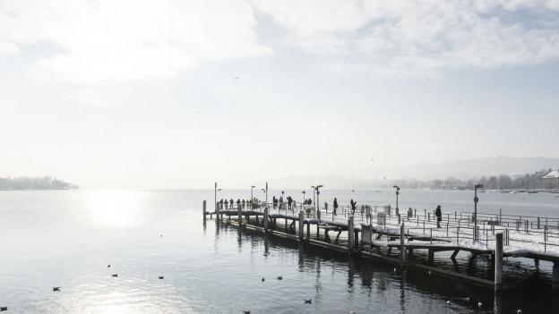 Schiffsteg beim Bürkliplatz, graues Wetter