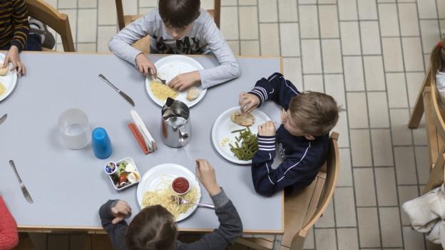 Kinder sitzen am Tisch mit vollen Tellern vor sich - Aufnahme aus der Vogelperspektive.