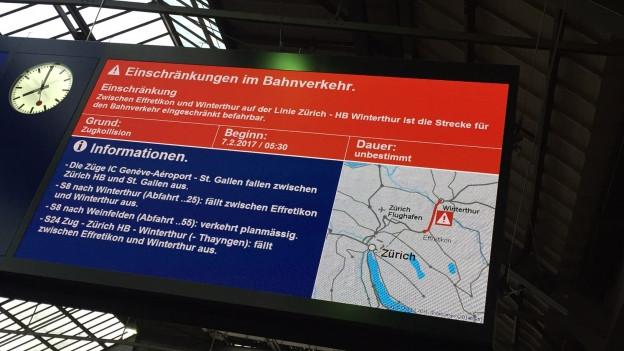 Anzeigetafel Bahnhof Winterthur