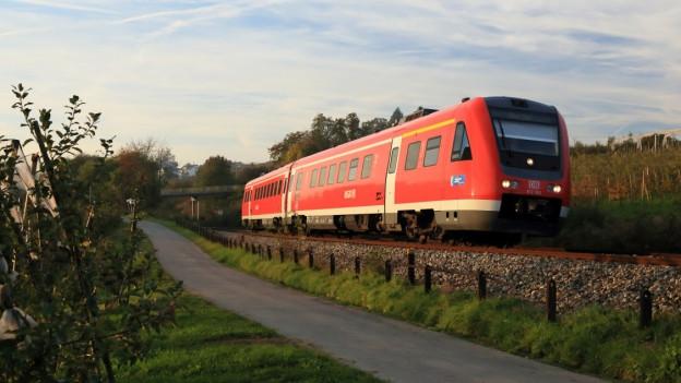 Ein Zug unterwegs auf der deutschen Seite der Strecke Zürich - München