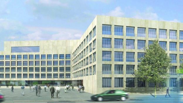Ein grosses modernes Gebäude als Computer-Vision