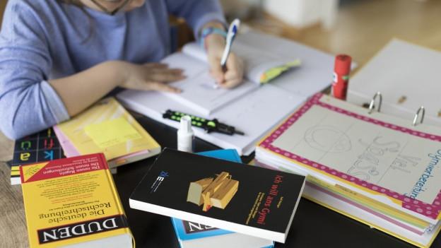 Ein Kind lernt, um es herum Duden und Lernbücher.