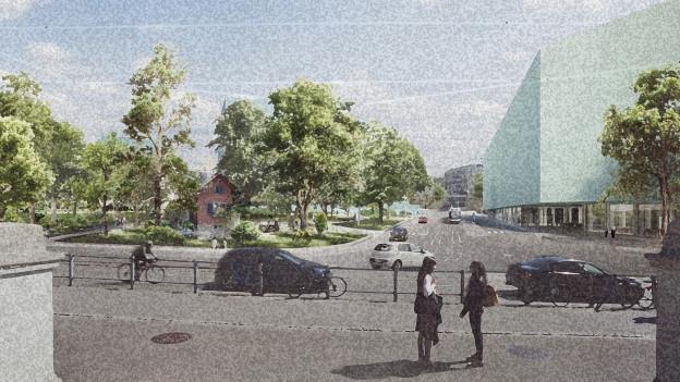 Visualisierung der Kreuzung Rämistrasse-Gloriastrasse: Links ein Park, rechts ein grosser Baukörper