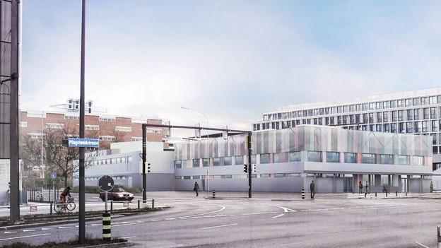 Visualisierung des neuen Zentrums. Ein dreistöckiges Gebäude mit Flachdach.