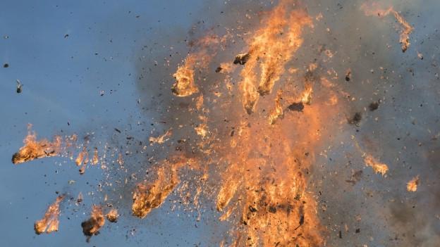 Der brennende Böögg auf dem Sechseläuten-Platz