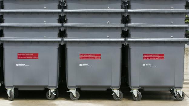 Ineinander aufgeschichtete Abfallcontainer.