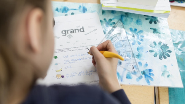 Ein Mädchen lernt Französisch