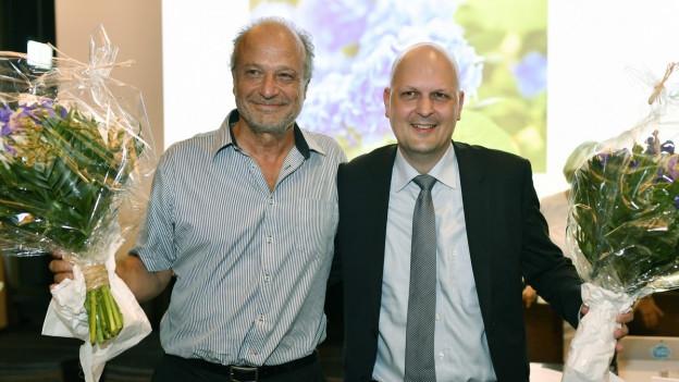 Die Zürcher Stadtratskandidaten der FDP: Filippo Leutenegger und Michael Baumer.