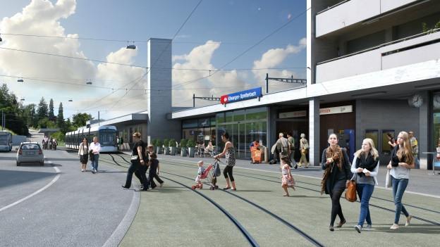 Visualisierung am Bahnhof Killwangen-Spreitenbach.