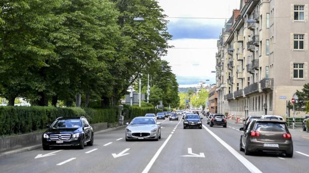Die Bellerivestrasse mit ihren vier Fahrspuren.