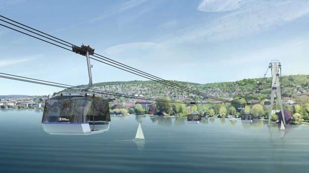 Die Gondel einer neuen Seilbahn schwebt über den Zürichsee.