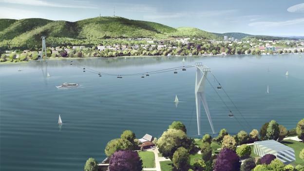 Eine Seilbahn erstreckt sich über den Zürichsee.