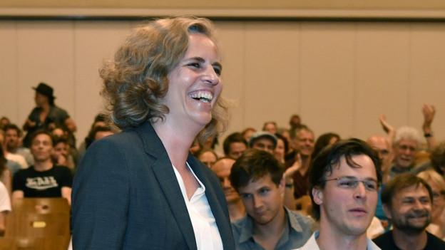 Karin Rykart von den Grünen an der Parteiversammlung.