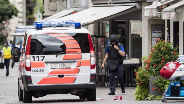 Ein Polizeiauto, daneben ein Polizist in Helm und Schutzweste.