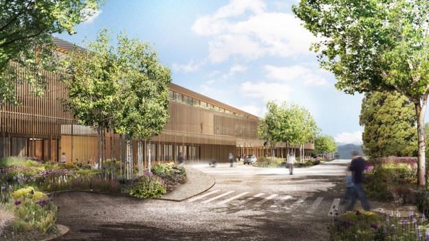 Mehrstöckiges Gebäude aus Holz (Visualisierung)