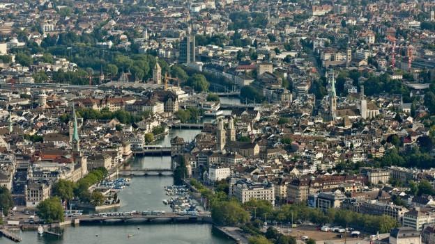Die Stadt Zürich in einer Luftaufnahme.
