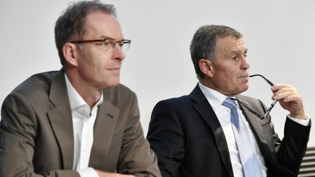 Portrait des Zürcher Stadtrats Daniel Leupi und des Zürcher Regierungsrats Ernst Stocker.