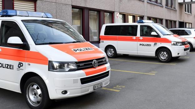 Polizeiautos vor dem Zürcher Bezirksgericht.
