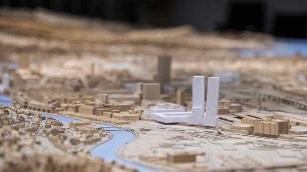 Das Stadion provisorisch platziert im Stadtmodell von Zürich