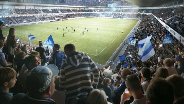 Visualisierung des neuen Fussballstadions auf dem Hardturm