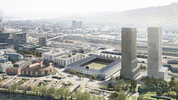 Visualisierung des Stadionprojekts «Ensemble» auf dem Zürcher Hardturm inkl. Wohnnbausiedlung und Hochhäusern.