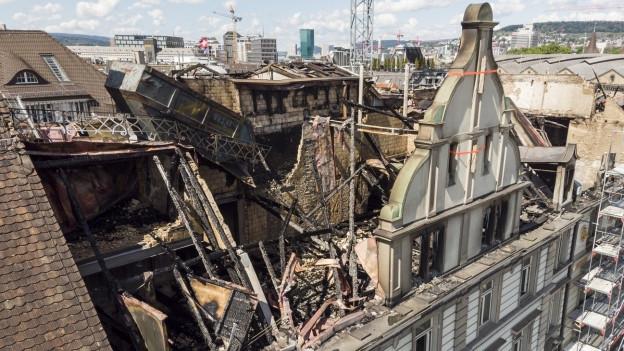 ausgebrannte Hausfassade
