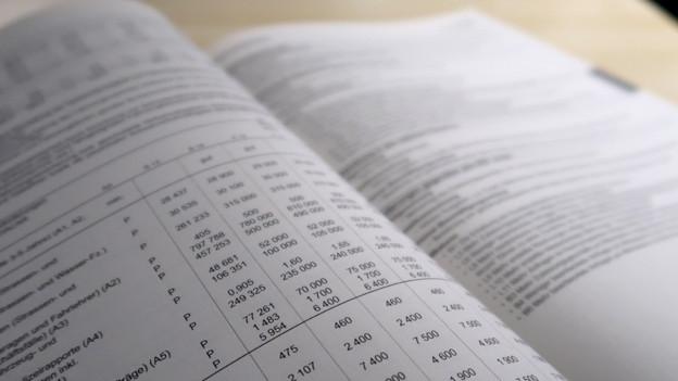 Aufgeschlagene Buch mit vielen Zahlen