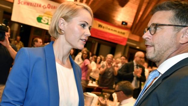 Portrait von Nationalrätin Natalie Rickli und Kantonsrat Christian Lucek.
