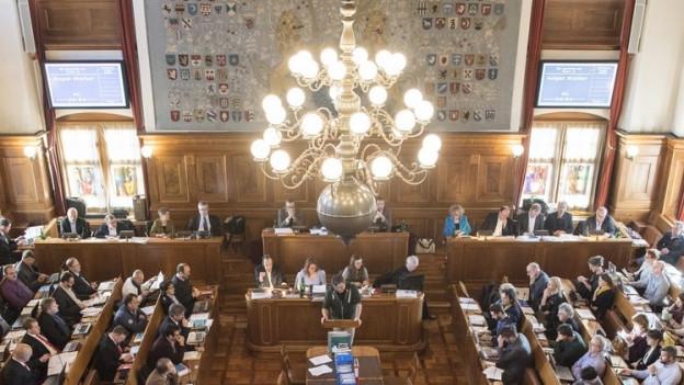 Der Ratssaal während einer Debatte des Zürcher Gemeinderats.