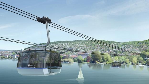 Die Visualisierung einer Gondel über dem Zürichsee.
