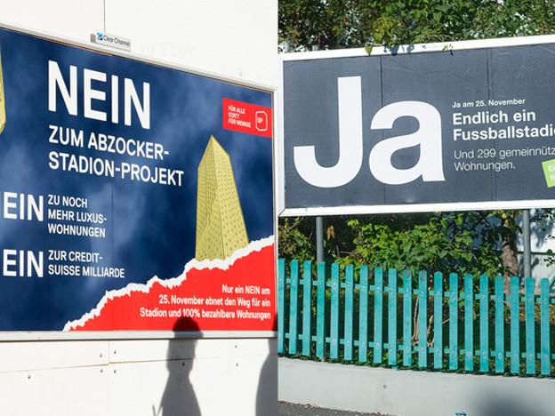 Zwei Wahlplakate vor der Abstimmung am 25. November