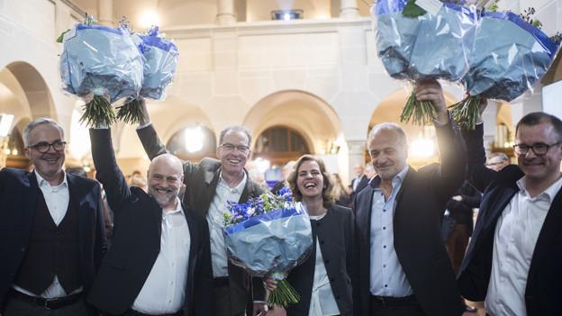 Stadträte nach dem Wahlsieg