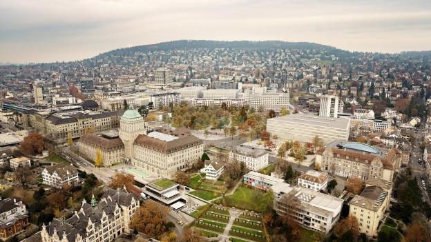 Blick aus der Vogelperspektive auf ein Quartier mit vielen Häusern.