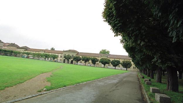 Wiese, Weg, Bäume, im Hintergrund ein langgezogenes Kasernengebäude