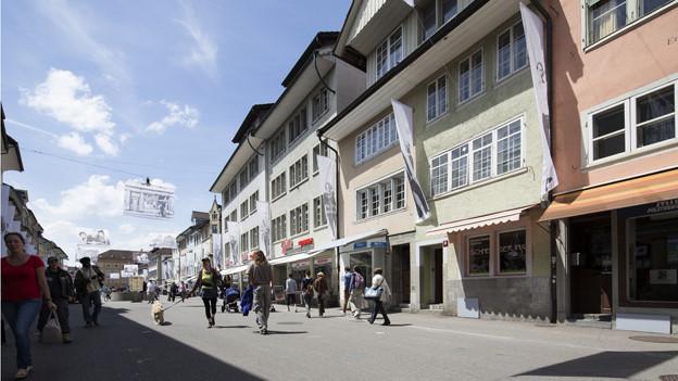 Blick in die Steinberggasse in der Altstadt von Winterthur
